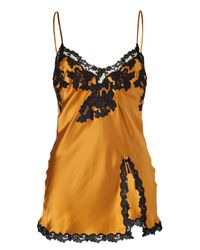 La Perla - Yellow Golden Glow Silk Cami with Black Lace Trim - Lyst