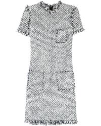 Lanvin | Black Frayed Tweed Dress | Lyst