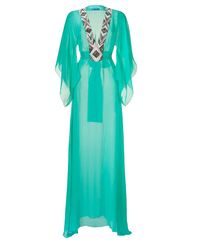 Matthew Williamson Escape | Blue Jade Silk Caftan with Embellished Neckline | Lyst