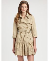 RED Valentino - Natural Embroidered Trenchcoat - Lyst