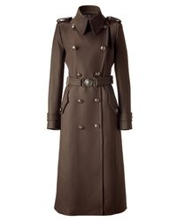 Roberto Cavalli | Brown Double Breasted Long Coat with Belt | Lyst