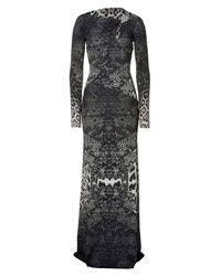 Roberto Cavalli | Gray Slate Snake Print Jersey Maxi Dress | Lyst