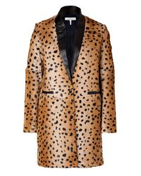 Sandro | Multicolor Camel Leopard Print Goat Hair Coat with Leather Trim | Lyst