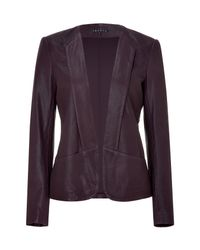 Theory - Purple Bordeaux Buttonless Leather Jacket - Lyst
