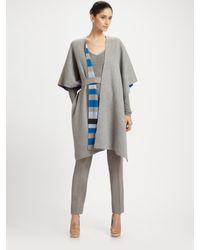 Akris | Gray Wool Poncho Cardigan | Lyst