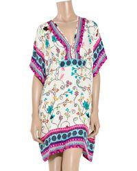 Antik Batik - White Kasa Floral-print Silk Kaftan - Lyst