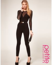 ASOS Collection | Black Asos Petite Exclusive Mesh Sleeve Unitard | Lyst