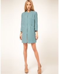 ASOS Collection | Blue Asos Zig Zag Coat | Lyst