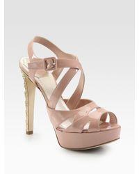 Dior | Pink Cannage-heel Platform Sandal | Lyst