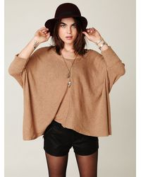 Free People - Brown Boxy Oversized Sweater - Lyst