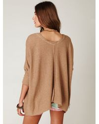 Free People | Brown Boxy Oversized Sweater | Lyst