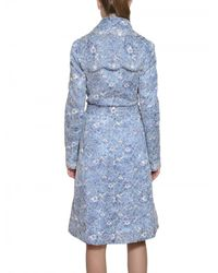 Luisa Beccaria - Blue Floral Lace Trench Coat - Lyst