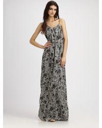 Theory - Black Musea Printed Maxi Dress - Lyst