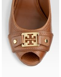 Tory Burch - Brown Carnell Leather Peep Toe Wedge Pumps - Lyst