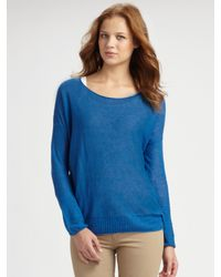 VINCE | Blue Linen Boatneck Sweater | Lyst