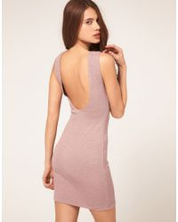 ASOS Collection - Textured Bodycon Dress With Scoop Back - Lyst