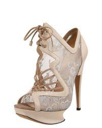Nicholas Kirkwood - Metallic Lace-up Lace Platform Sandal - Lyst