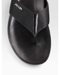 Prada | Black Leather Thong Sandal for Men | Lyst