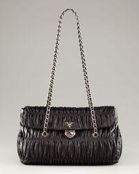 Prada | Black Medium Flap Ruched Leather Shoulder Bag | Lyst
