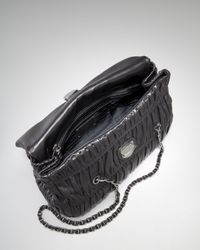 Prada - Black Medium Flap Ruched Leather Shoulder Bag - Lyst
