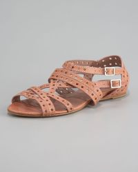 Tabitha Simmons | Pink Flat Lattice Strap Sandal, Rose | Lyst