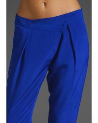 Tibi | Blue Silk Pleated Pant | Lyst