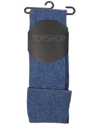 TOPSHOP - Blue Marl Rib Over The Knee Socks - Lyst