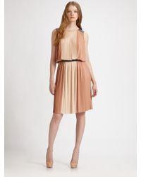 BCBGMAXAZRIA | Black Soft Color Block Pleated Dress | Lyst