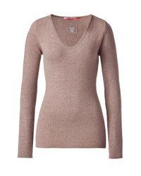 Dear Cashmere | Brown Truffle Melange Cashmere V-neck Pullover | Lyst