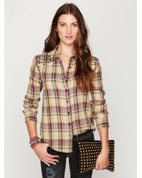 Free People | Brown Studded Plaid Buttondown | Lyst