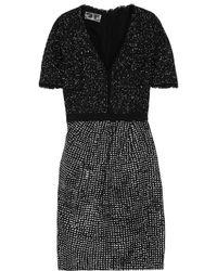 Giambattista Valli | - Crocheted-lace And Leopard Devoré-canvas Mini Dress - Black | Lyst