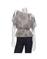 Halston | Gray Open Sleeve Jacquard Blouse | Lyst