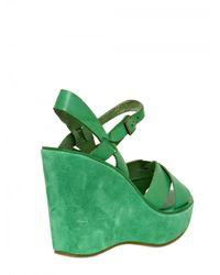 Kork-Ease | Green 110mm Bette Leather Sandal Wedges | Lyst