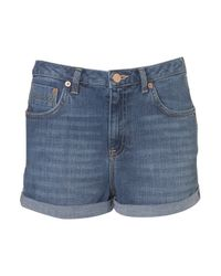 TOPSHOP | Blue Moto Dark Denim Ashley Short | Lyst