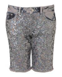 TOPSHOP | Metallic Sequin Front Boyfriend Shorts | Lyst