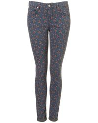TOPSHOP | Blue Ditsy Floral Print Leigh Jeans | Lyst
