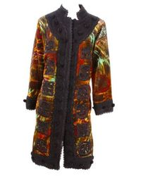 Oscar de la Renta - Multicolor Embroidered Velvet Trapunto Coat - Lyst