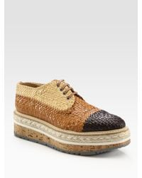 Prada - Brown Woven Lace-up Platform Oxfords - Lyst