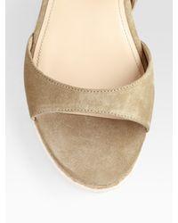 Prada | Natural Suede And Micro-Foam Flat Sandals | Lyst