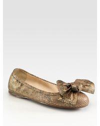 Prada | Metallic Stamped Python Bow Ballet Flats | Lyst