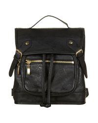 TOPSHOP - Black Buckle Backpack - Lyst