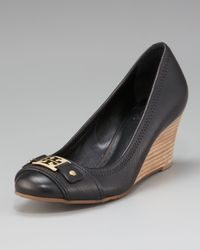 Tory Burch | Black Natalya Mid-Wedge Logo Pump | Lyst