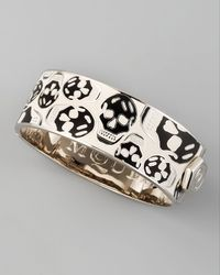 Alexander McQueen - Medium Enamel Skull Bangle, White/black - Lyst