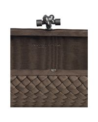 Bottega Veneta   Brown Intrecciato Silk Faille Knot Large Box Clutch   Lyst