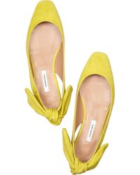 Carven   Yellow Flat Suede Slingbacks   Lyst