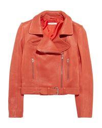 Carven | Textured-Leather Biker Jacket | Lyst