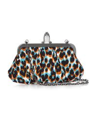 Christian Louboutin - Multicolor Mini Loubi Lula Animal-print Silk Frame Clutch - Lyst