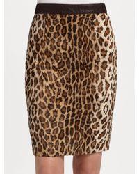 Elizabeth and James - Natural Faux Leopard Pencil Skirt - Lyst