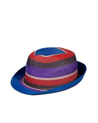 Etro | Royal Blue and Violet Striped Hat | Lyst