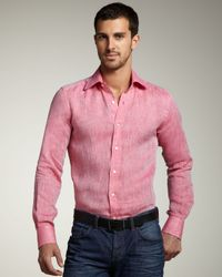 Etro | Pink Linen Sport Shirt for Men | Lyst